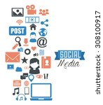 social media design  vector... | Shutterstock .eps vector #308100917