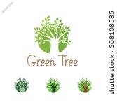green circle tree logo design... | Shutterstock .eps vector #308108585