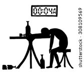 asleep drunkard with bottle in...   Shutterstock .eps vector #308109569