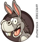 Cartoon Donkey Coming Out Of...