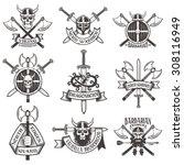Viking Logo Set. Skull In...
