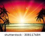 tropical landscape | Shutterstock .eps vector #308117684