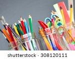 school supplies in jars against ... | Shutterstock . vector #308120111