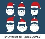 santa claus face vector | Shutterstock .eps vector #308120969