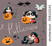 halloween characters icon set.... | Shutterstock .eps vector #308123141