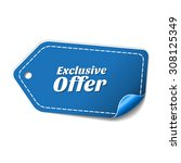 exclusive offer blue vector... | Shutterstock .eps vector #308125349