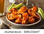 spicy homemade buffalo wings... | Shutterstock . vector #308133647