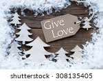 brown christmas label with... | Shutterstock . vector #308135405