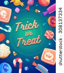 trick or trick. set of colorful ... | Shutterstock .eps vector #308137334