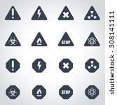 vector black danger icon set. | Shutterstock .eps vector #308141111