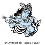 hindu young god lord krishna.... | Shutterstock .eps vector #308141684