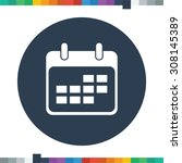 flat calendar icon in a circle. | Shutterstock .eps vector #308145389