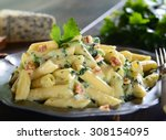 penne pasta with gorgonzola... | Shutterstock . vector #308154095