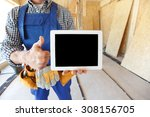 close up of workman with tablet ...   Shutterstock . vector #308156705