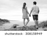 young caucasian couple stand... | Shutterstock . vector #308158949