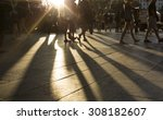 crowds walking in a busy city... | Shutterstock . vector #308182607