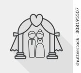 wedding ceremony flat icon with ... | Shutterstock .eps vector #308195507