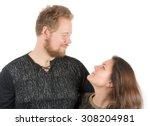 couple  tall man and short... | Shutterstock . vector #308204981