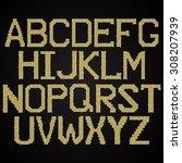 mosaic. gold pailette alphabet.  | Shutterstock .eps vector #308207939