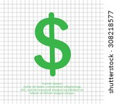 flat dollar icon. | Shutterstock .eps vector #308218577