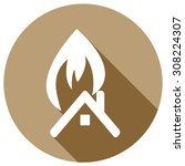 home flat fire icon with long...