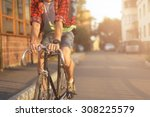close up hipster on bike in the ... | Shutterstock . vector #308225579