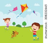 Kids Playing Kites. Vector...