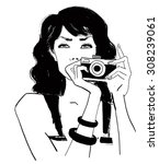 girl with camera | Shutterstock .eps vector #308239061