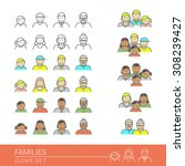 people and families flat icons... | Shutterstock .eps vector #308239427