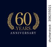 60 years old luxurious logo.... | Shutterstock .eps vector #308255021