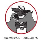 cartoon character mole isolated ... | Shutterstock .eps vector #308263175