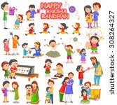 brother and sister in raksha... | Shutterstock .eps vector #308264327
