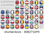 european flags. metal round... | Shutterstock .eps vector #308271695