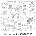 set of hand drawn vector... | Shutterstock .eps vector #308288999