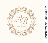 elegant floral monogram design... | Shutterstock .eps vector #308300297