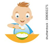 boy with a bowl of porridge and ... | Shutterstock .eps vector #308302271