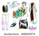 hand drawn watercolor... | Shutterstock . vector #308304974