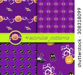 vector set of four halloween... | Shutterstock .eps vector #308318099