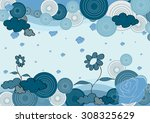 blue flower pastel and rose... | Shutterstock .eps vector #308325629