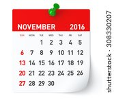 november 2016   calendar.... | Shutterstock . vector #308330207