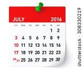 July 2016   Calendar. Isolated...