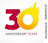 30 years old celebrating fiery...   Shutterstock .eps vector #308349125