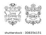 set of vintage labels painted... | Shutterstock .eps vector #308356151