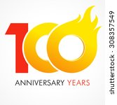 100 years old celebrating fiery ... | Shutterstock .eps vector #308357549