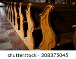 Rows Of Wooden Church Benches...