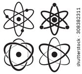atom icon in four variations | Shutterstock .eps vector #308382311
