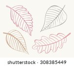 hand drawn vector leaves.... | Shutterstock .eps vector #308385449