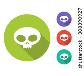 skull flat icon with long shadow | Shutterstock .eps vector #308390927