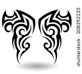 hand drawn tribal tattoo in... | Shutterstock .eps vector #308392235