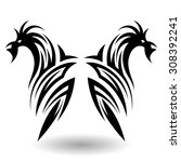 hand drawn tribal tattoo in... | Shutterstock .eps vector #308392241